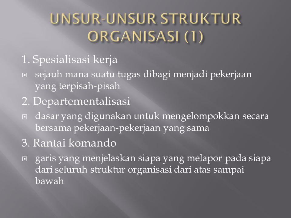 1. Spesialisasi kerja  sejauh mana suatu tugas dibagi menjadi pekerjaan yang terpisah-pisah 2. Departementalisasi  dasar yang digunakan untuk mengel