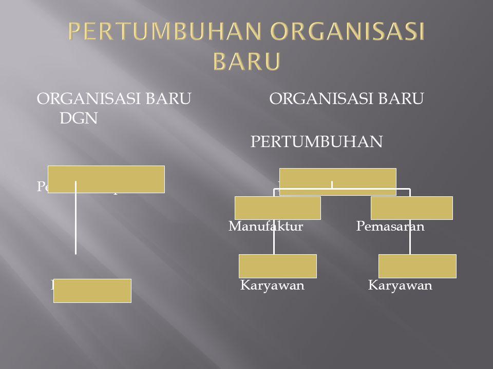 ORGANISASI BARU ORGANISASI BARU DGN PERTUMBUHAN Pemilik-Pimpinan Manufaktur Pemasaran Karyawan Karyawan Karyawan