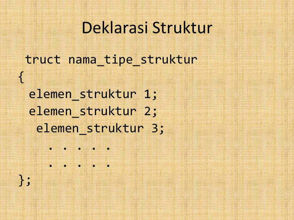Deklarasi Struktur truct nama_tipe_struktur { elemen_struktur 1; elemen_struktur 2; elemen_struktur 3;.....