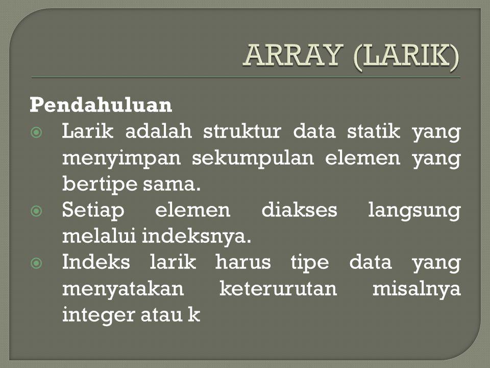 Pendahuluan  Larik adalah struktur data statik yang menyimpan sekumpulan elemen yang bertipe sama.  Setiap elemen diakses langsung melalui indeksnya