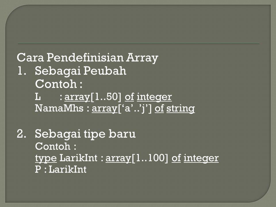 Cara Pendefinisian Array 1.Sebagai Peubah Contoh : L : array[1..50] of integer NamaMhs : array['a'..'j'] of string 2.Sebagai tipe baru Contoh : type L