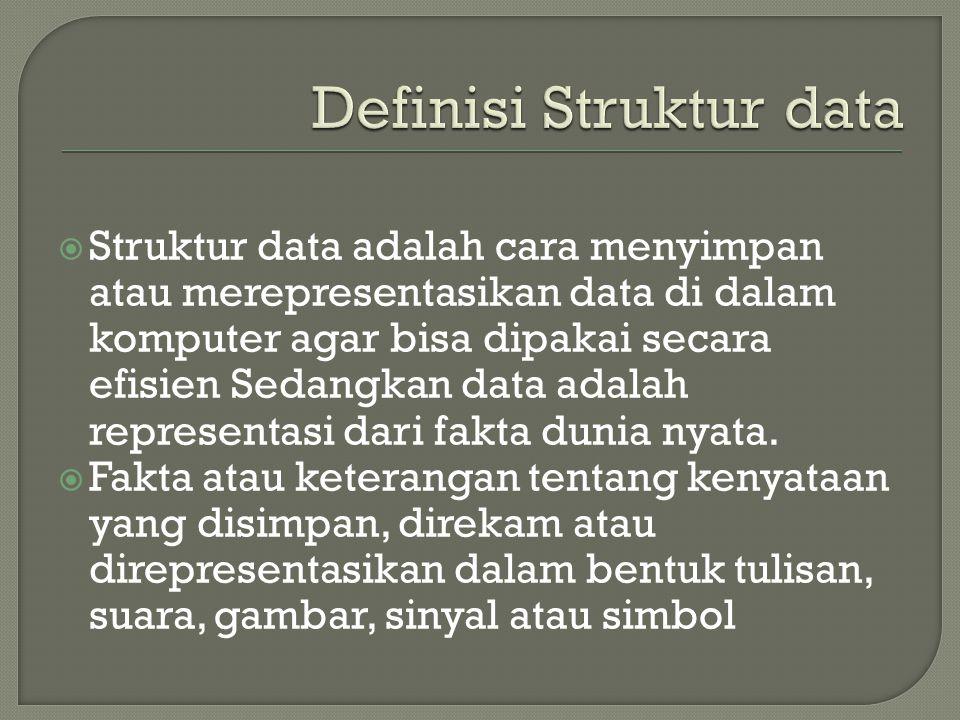  Struktur data adalah cara menyimpan atau merepresentasikan data di dalam komputer agar bisa dipakai secara efisien Sedangkan data adalah representas
