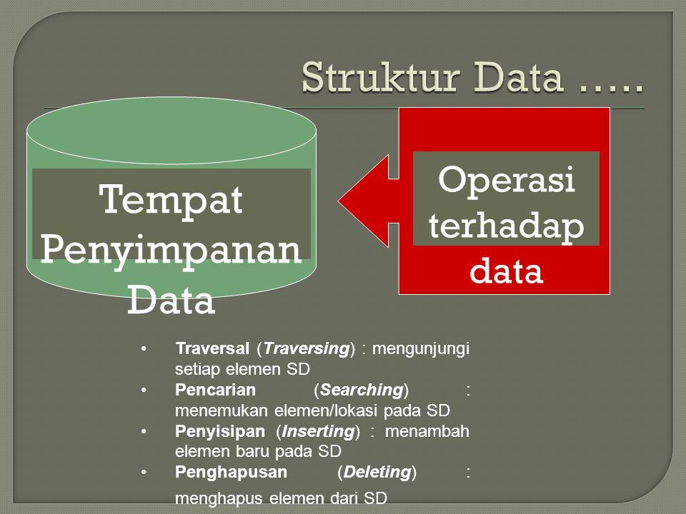 Tempat Penyimpanan Data Operasi terhadap data Traversal (Traversing) : mengunjungi setiap elemen SD Pencarian (Searching) : menemukan elemen/lokasi pa