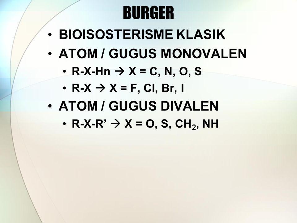 BURGER BIOISOSTERISME KLASIK ATOM / GUGUS MONOVALEN R-X-Hn  X = C, N, O, S R-X  X = F, Cl, Br, I ATOM / GUGUS DIVALEN R-X-R'  X = O, S, CH 2, NH