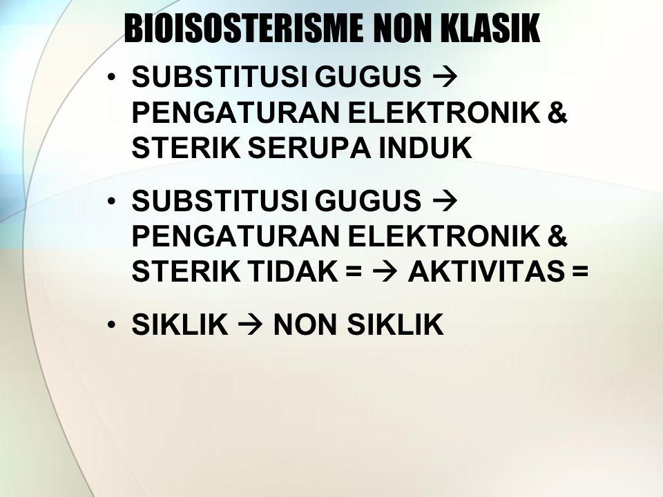 BIOISOSTERISME NON KLASIK SUBSTITUSI GUGUS  PENGATURAN ELEKTRONIK & STERIK SERUPA INDUK SUBSTITUSI GUGUS  PENGATURAN ELEKTRONIK & STERIK TIDAK =  AKTIVITAS = SIKLIK  NON SIKLIK