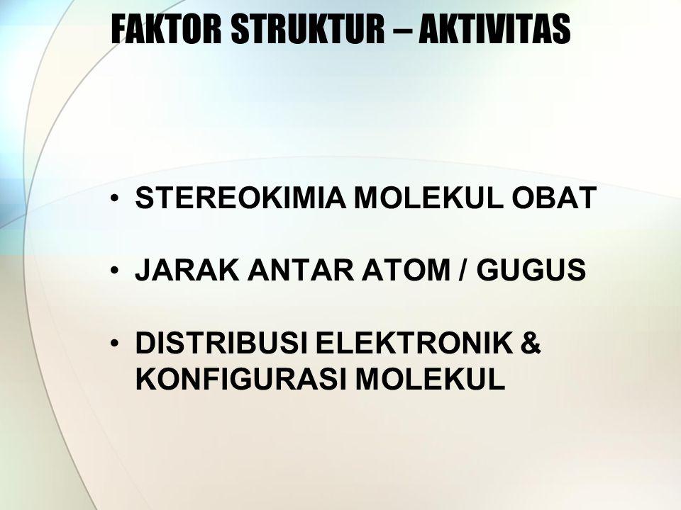 FAKTOR STRUKTUR – AKTIVITAS STEREOKIMIA MOLEKUL OBAT JARAK ANTAR ATOM / GUGUS DISTRIBUSI ELEKTRONIK & KONFIGURASI MOLEKUL