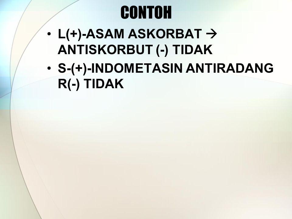 CONTOH L(+)-ASAM ASKORBAT  ANTISKORBUT (-) TIDAK S-(+)-INDOMETASIN ANTIRADANG R(-) TIDAK