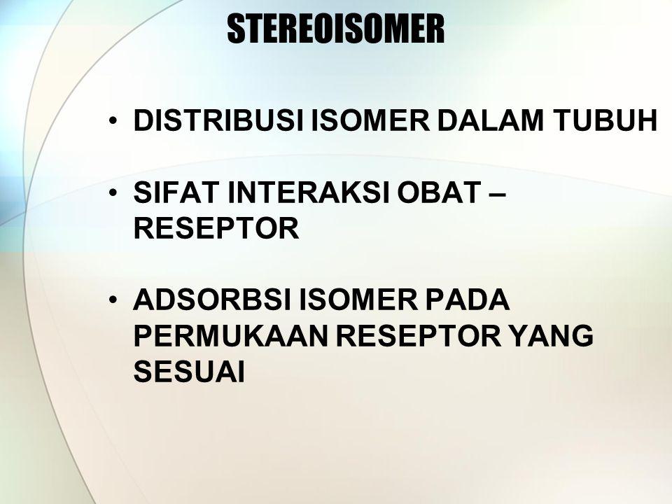 STEREOISOMER DISTRIBUSI ISOMER DALAM TUBUH SIFAT INTERAKSI OBAT – RESEPTOR ADSORBSI ISOMER PADA PERMUKAAN RESEPTOR YANG SESUAI