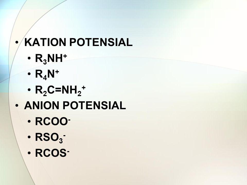 KATION POTENSIAL R 3 NH + R 4 N + R 2 C=NH 2 + ANION POTENSIAL RCOO - RSO 3 - RCOS -