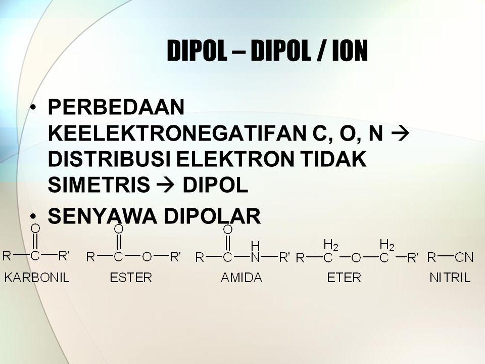 DIPOL – DIPOL / ION PERBEDAAN KEELEKTRONEGATIFAN C, O, N  DISTRIBUSI ELEKTRON TIDAK SIMETRIS  DIPOL SENYAWA DIPOLAR