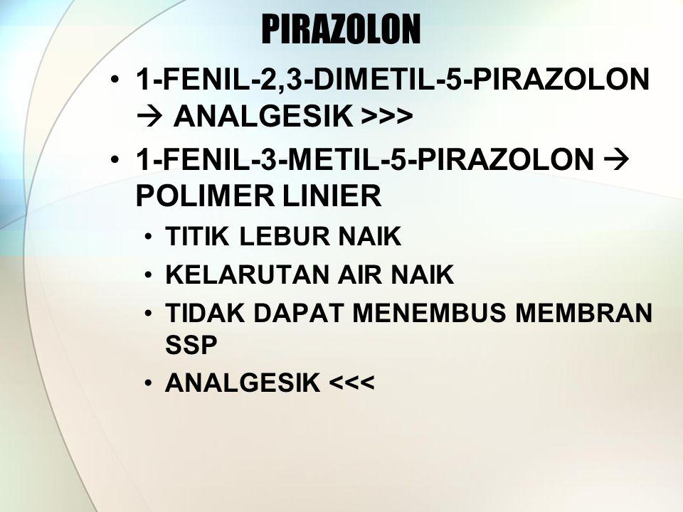 1-FENIL-2,3-DIMETIL-5-PIRAZOLON  ANALGESIK >>> 1-FENIL-3-METIL-5-PIRAZOLON  POLIMER LINIER TITIK LEBUR NAIK KELARUTAN AIR NAIK TIDAK DAPAT MENEMBUS MEMBRAN SSP ANALGESIK <<<