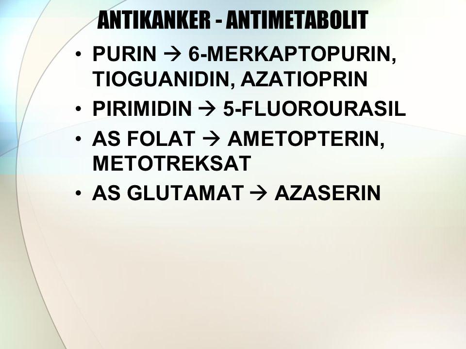 ANTIKANKER - ANTIMETABOLIT PURIN  6-MERKAPTOPURIN, TIOGUANIDIN, AZATIOPRIN PIRIMIDIN  5-FLUOROURASIL AS FOLAT  AMETOPTERIN, METOTREKSAT AS GLUTAMAT  AZASERIN