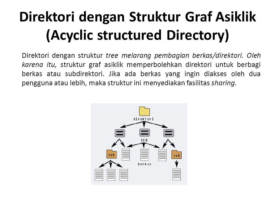 Direktori dengan Struktur Graf Asiklik (Acyclic structured Directory) Direktori dengan struktur tree melarang pembagian berkas/direktori. Oleh karena