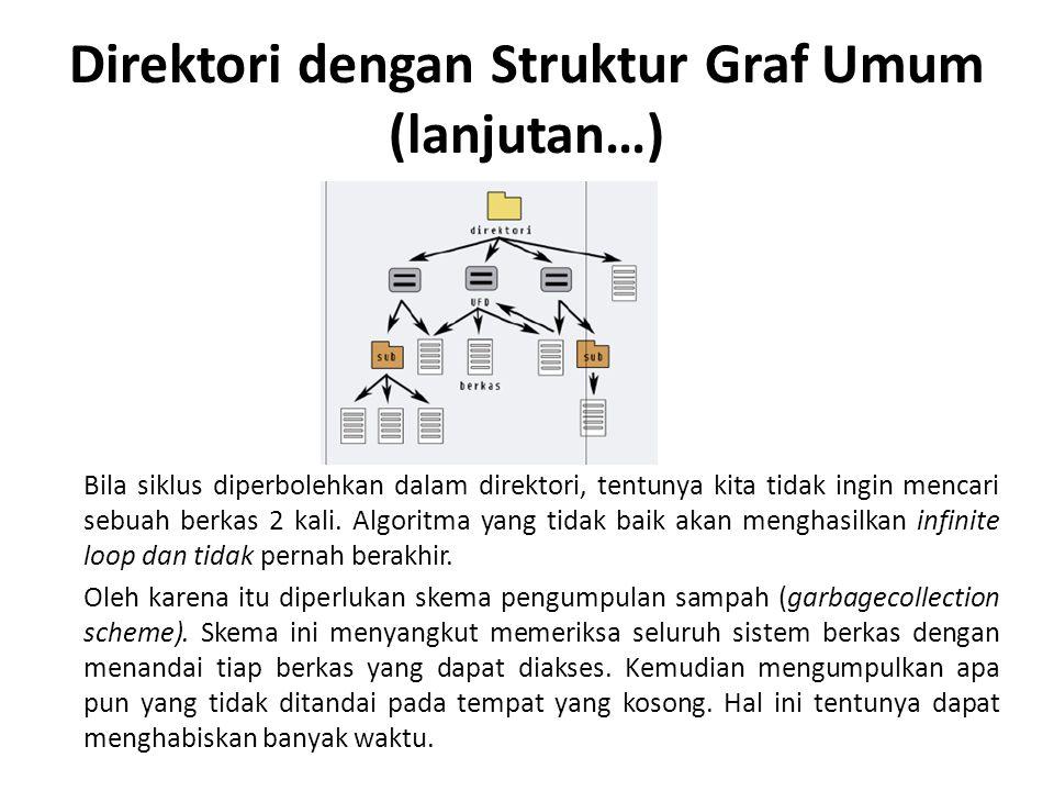 Direktori dengan Struktur Graf Umum (lanjutan…) Bila siklus diperbolehkan dalam direktori, tentunya kita tidak ingin mencari sebuah berkas 2 kali.