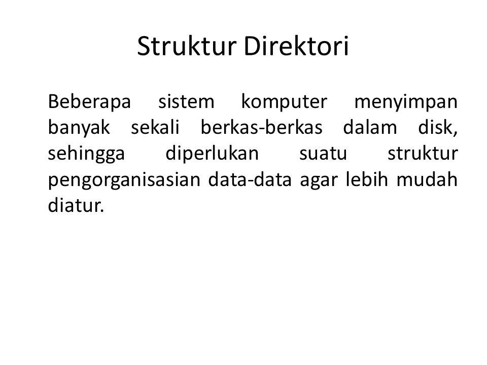 Struktur Direktori Beberapa sistem komputer menyimpan banyak sekali berkas-berkas dalam disk, sehingga diperlukan suatu struktur pengorganisasian data-data agar lebih mudah diatur.
