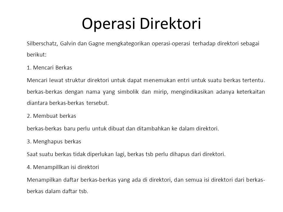 Operasi Direktori Silberschatz, Galvin dan Gagne mengkategorikan operasi-operasi terhadap direktori sebagai berikut: 1. Mencari Berkas Mencari lewat s