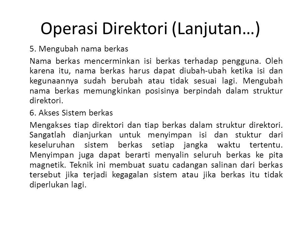 Operasi Direktori (Lanjutan…) 5. Mengubah nama berkas Nama berkas mencerminkan isi berkas terhadap pengguna. Oleh karena itu, nama berkas harus dapat