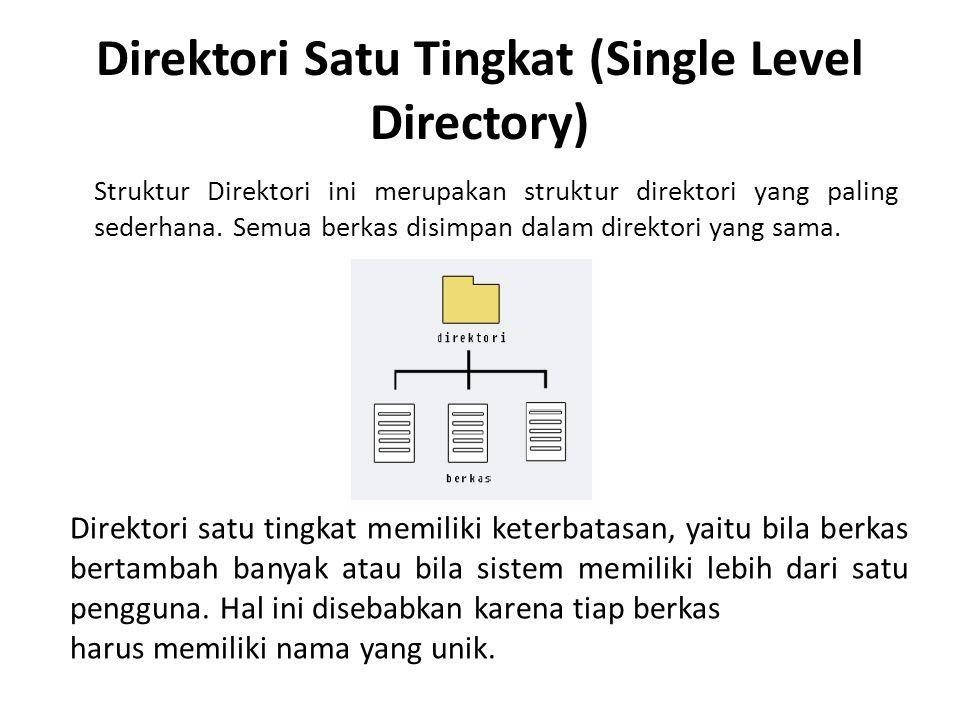 Direktori Satu Tingkat (Single Level Directory) Struktur Direktori ini merupakan struktur direktori yang paling sederhana. Semua berkas disimpan dalam