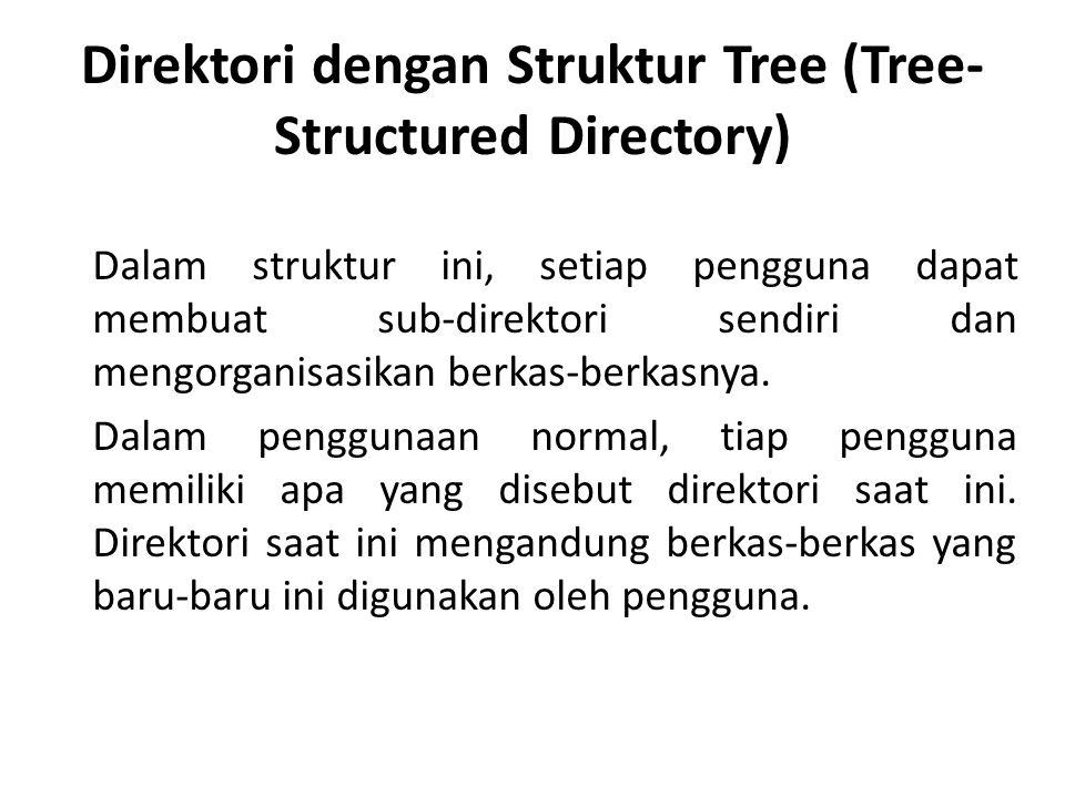 Direktori dengan Struktur Tree (Tree- Structured Directory) Dalam struktur ini, setiap pengguna dapat membuat sub-direktori sendiri dan mengorganisasikan berkas-berkasnya.