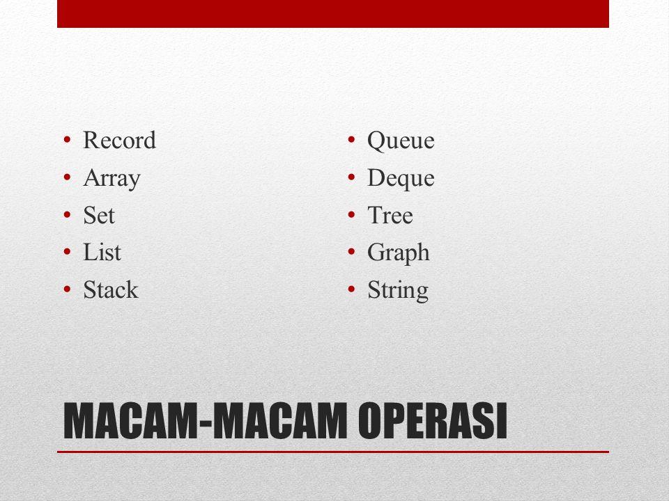 MACAM-MACAM OPERASI Record Array Set List Stack Queue Deque Tree Graph String