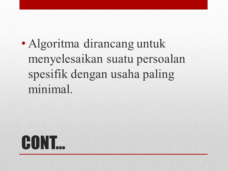 CONT… Algoritma dirancang untuk menyelesaikan suatu persoalan spesifik dengan usaha paling minimal.