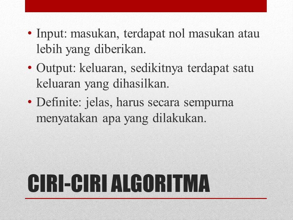 CIRI-CIRI ALGORITMA Input: masukan, terdapat nol masukan atau lebih yang diberikan. Output: keluaran, sedikitnya terdapat satu keluaran yang dihasilka