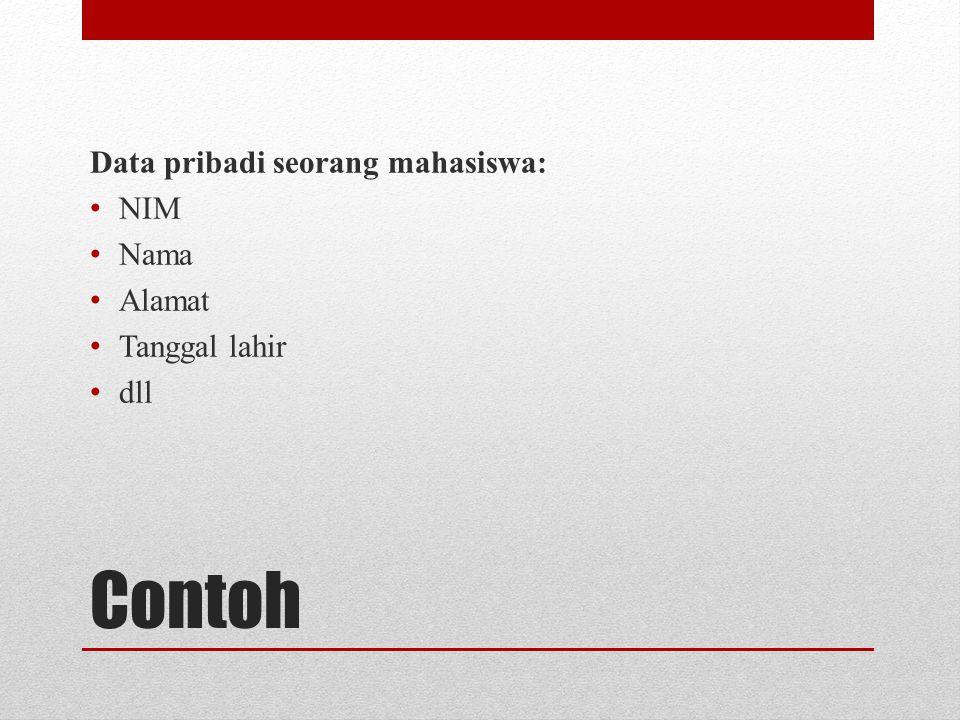 Contoh Data pribadi seorang mahasiswa: NIM Nama Alamat Tanggal lahir dll