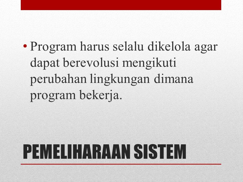 PEMELIHARAAN SISTEM Program harus selalu dikelola agar dapat berevolusi mengikuti perubahan lingkungan dimana program bekerja.
