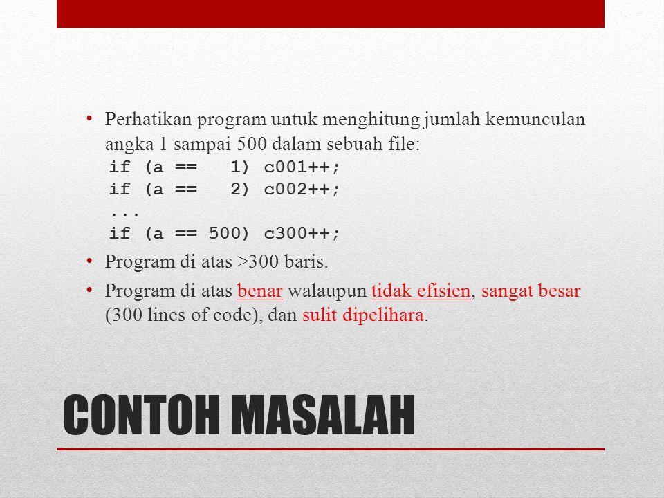 CONTOH MASALAH Perhatikan program untuk menghitung jumlah kemunculan angka 1 sampai 500 dalam sebuah file: if (a == 1) c001++; if (a == 2) c002++;...