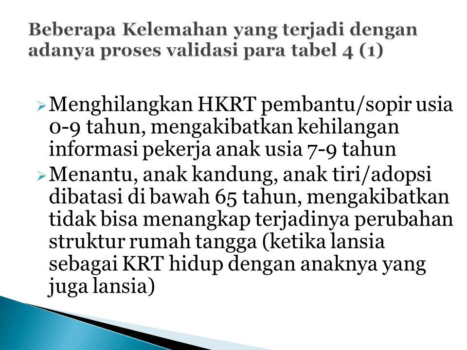  Menghilangkan HKRT pembantu/sopir usia 0-9 tahun, mengakibatkan kehilangan informasi pekerja anak usia 7-9 tahun  Menantu, anak kandung, anak tiri/