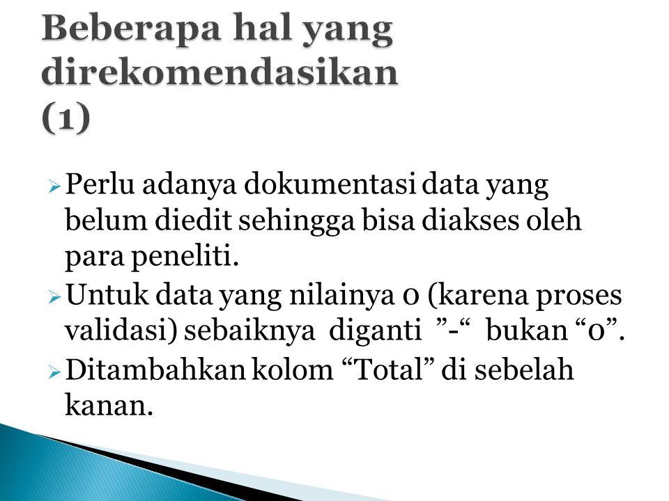  Perlu adanya dokumentasi data yang belum diedit sehingga bisa diakses oleh para peneliti.  Untuk data yang nilainya 0 (karena proses validasi) seba