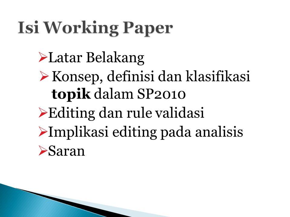  Latar Belakang  Konsep, definisi dan klasifikasi topik dalam SP2010  Editing dan rule validasi  Implikasi editing pada analisis  Saran