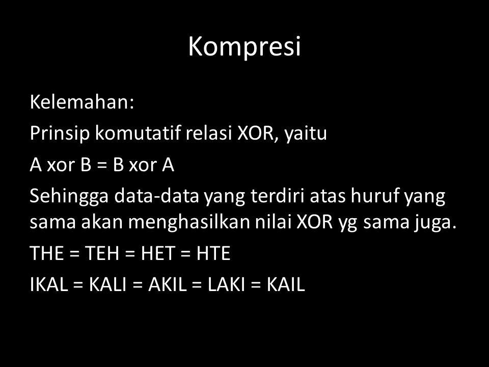 Kompresi Kelemahan: Prinsip komutatif relasi XOR, yaitu A xor B = B xor A Sehingga data-data yang terdiri atas huruf yang sama akan menghasilkan nilai XOR yg sama juga.