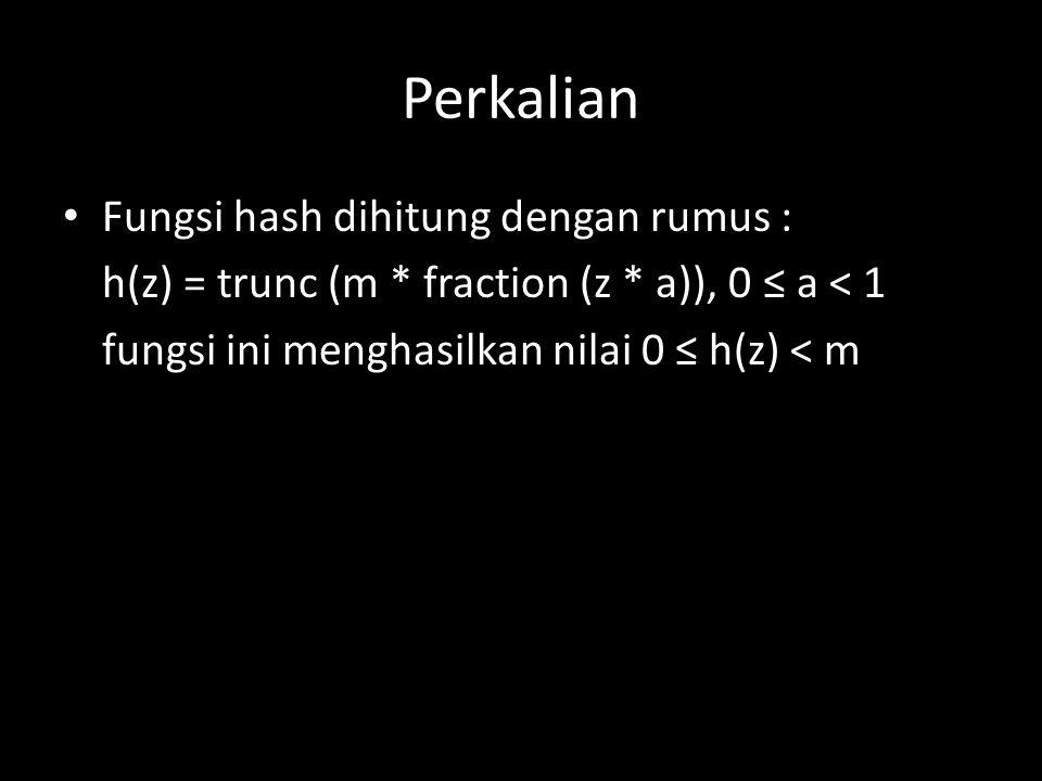 Perkalian Fungsi hash dihitung dengan rumus : h(z) = trunc (m * fraction (z * a)), 0 ≤ a < 1 fungsi ini menghasilkan nilai 0 ≤ h(z) < m