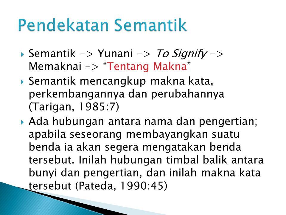 """ Semantik -> Yunani -> To Signify -> Memaknai -> """"Tentang Makna""""  Semantik mencangkup makna kata, perkembangannya dan perubahannya (Tarigan, 1985:7)"""