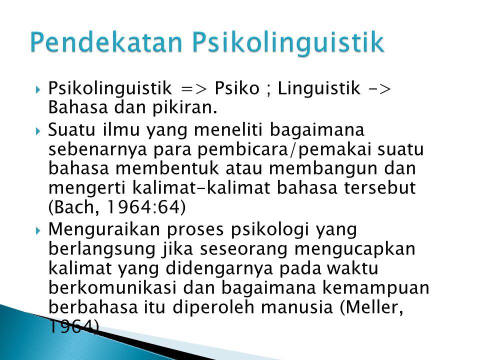 Psikolinguistik => Psiko ; Linguistik -> Bahasa dan pikiran.  Suatu ilmu yang meneliti bagaimana sebenarnya para pembicara/pemakai suatu bahasa mem