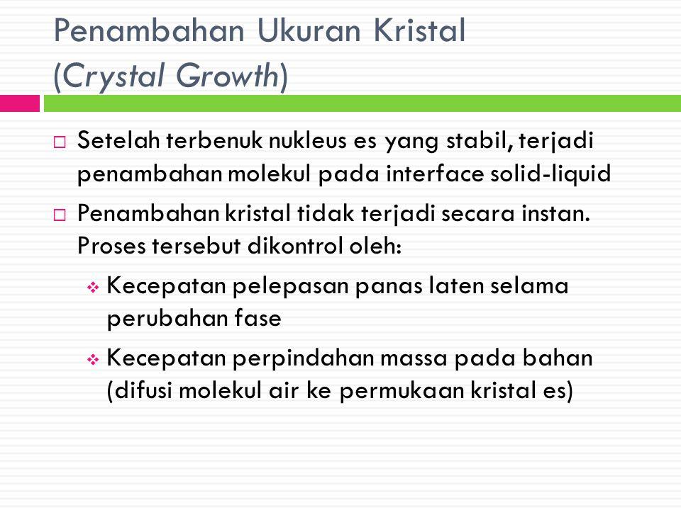 Penambahan Ukuran Kristal (Crystal Growth)  Setelah terbenuk nukleus es yang stabil, terjadi penambahan molekul pada interface solid-liquid  Penamba