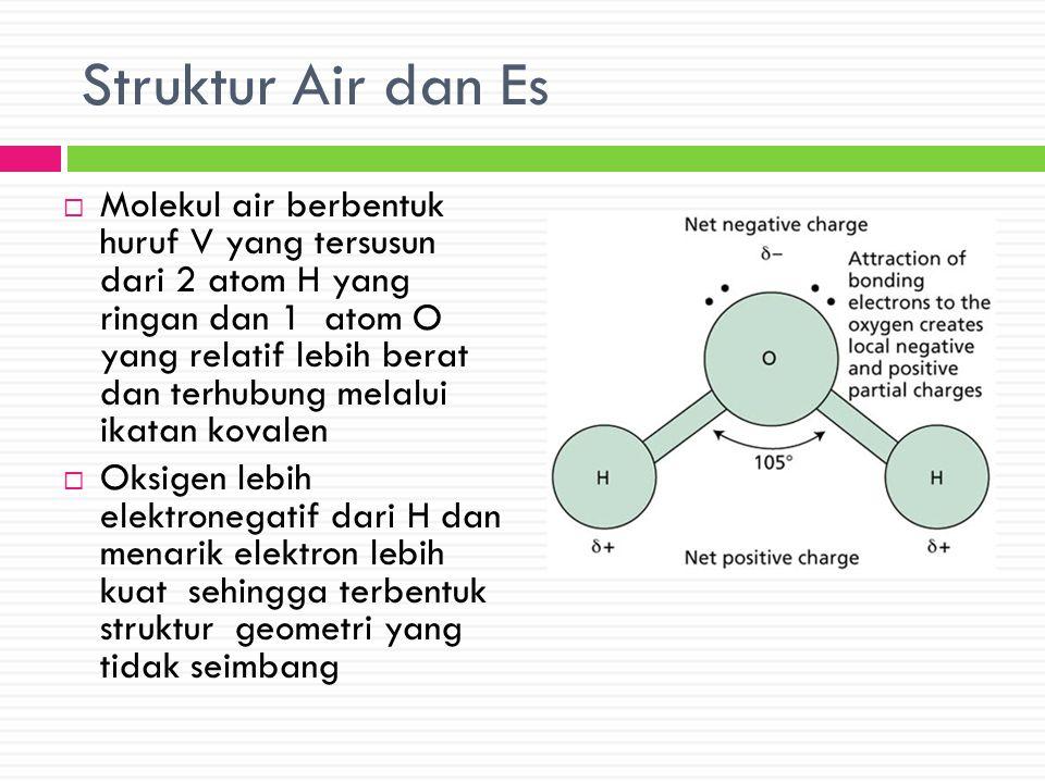 Struktur Air dan Es  Molekul air berbentuk huruf V yang tersusun dari 2 atom H yang ringan dan 1 atom O yang relatif lebih berat dan terhubung melalu