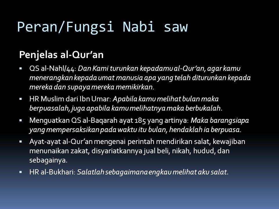 Peran/Fungsi Nabi saw Penjelas al-Qur'an  QS al-Nahl/44: Dan Kami turunkan kepadamu al-Qur'an, agar kamu menerangkan kepada umat manusia apa yang telah diturunkan kepada mereka dan supaya mereka memikirkan.