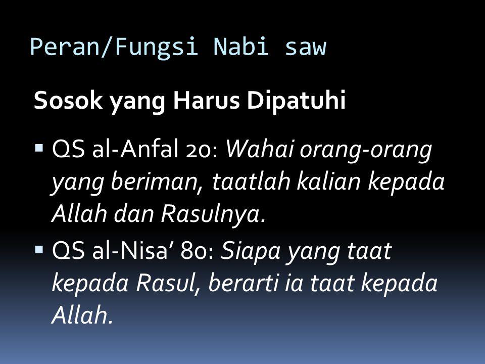 Peran/Fungsi Nabi saw Sosok yang Harus Dipatuhi  QS al-Anfal 20: Wahai orang-orang yang beriman, taatlah kalian kepada Allah dan Rasulnya.
