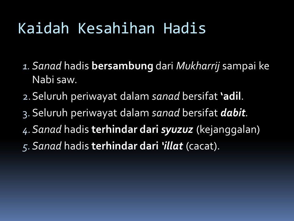Kaidah Kesahihan Hadis 1.Sanad hadis bersambung dari Mukharrij sampai ke Nabi saw.