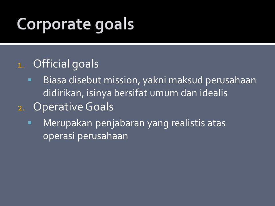 1. Official goals  Biasa disebut mission, yakni maksud perusahaan didirikan, isinya bersifat umum dan idealis 2. Operative Goals  Merupakan penjabar
