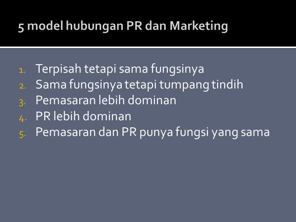 1. Terpisah tetapi sama fungsinya 2. Sama fungsinya tetapi tumpang tindih 3. Pemasaran lebih dominan 4. PR lebih dominan 5. Pemasaran dan PR punya fun
