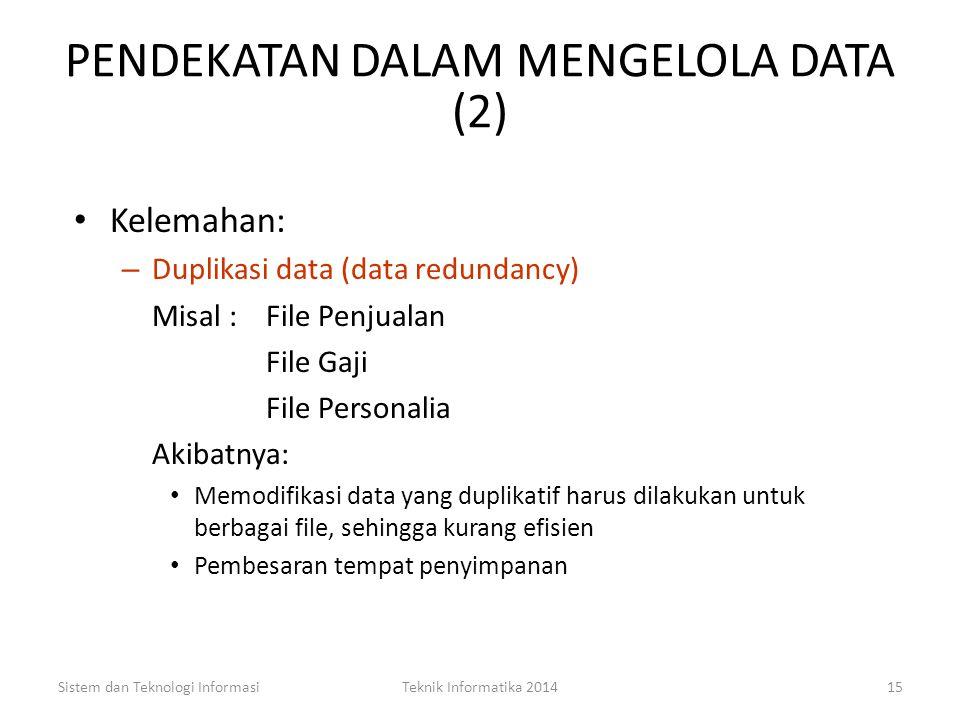 PENDEKATAN DALAM MENGELOLA DATA (1) File Oriented (Traditional) Approach Dalam pendekatan ini, sumber data dikumpulkan dalam file-file yang tidak berh