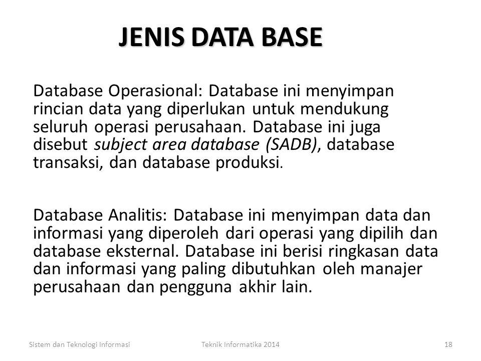 PENDEKATAN DALAM MENGELOLA DATA (4) Database Approach Kelebihan: – Duplikasi data dapat dikurangi – Hubungan data dapat ditingkatkan Sistem dan Teknol