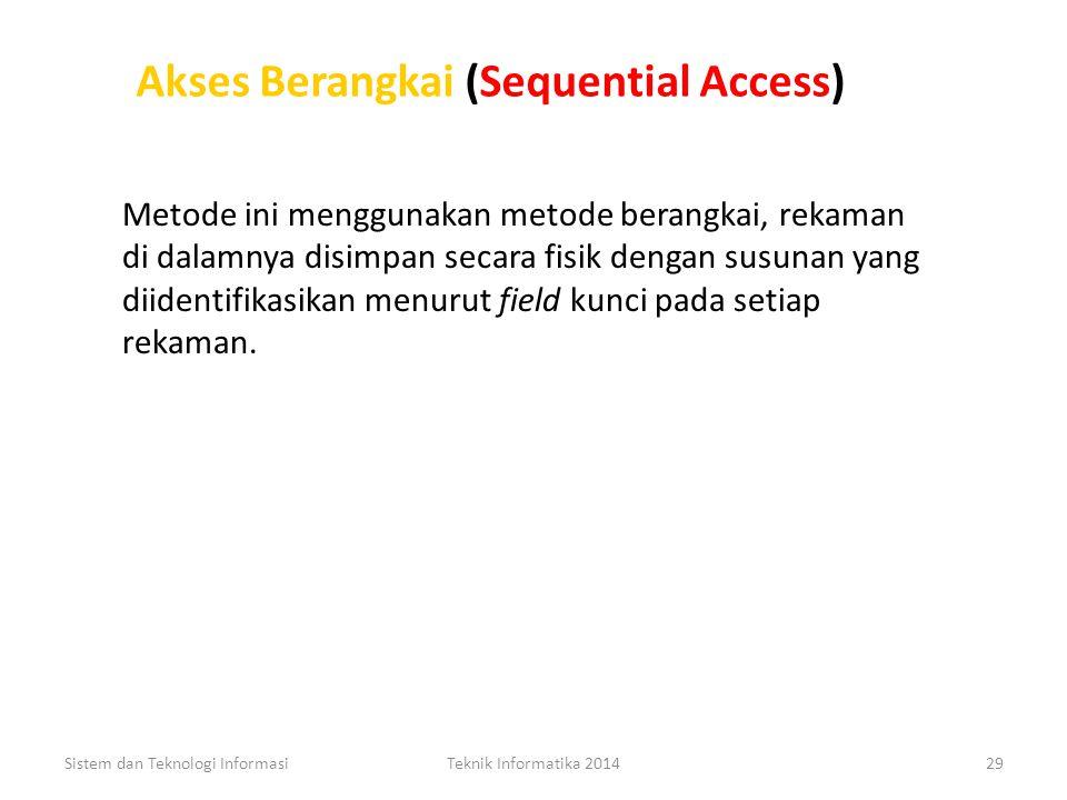METODE AKSES DATA Akses Berangkai (Sequential Access) Akses Berangkai (Sequential Access) Sistem dan Teknologi InformasiTeknik Informatika 201428 Akse