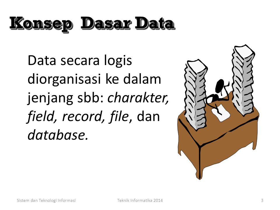 Manajemen Sumber Data Data merupakan sumber daya data organisasi yang vital dan perlu dikelola seperti asset penting lainnya. Kebanyakan organisasi ti