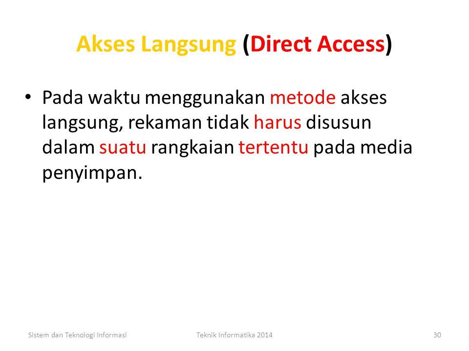Akses Berangkai (Sequential Access) Metode ini menggunakan metode berangkai, rekaman di dalamnya disimpan secara fisik dengan susunan yang diidentifik