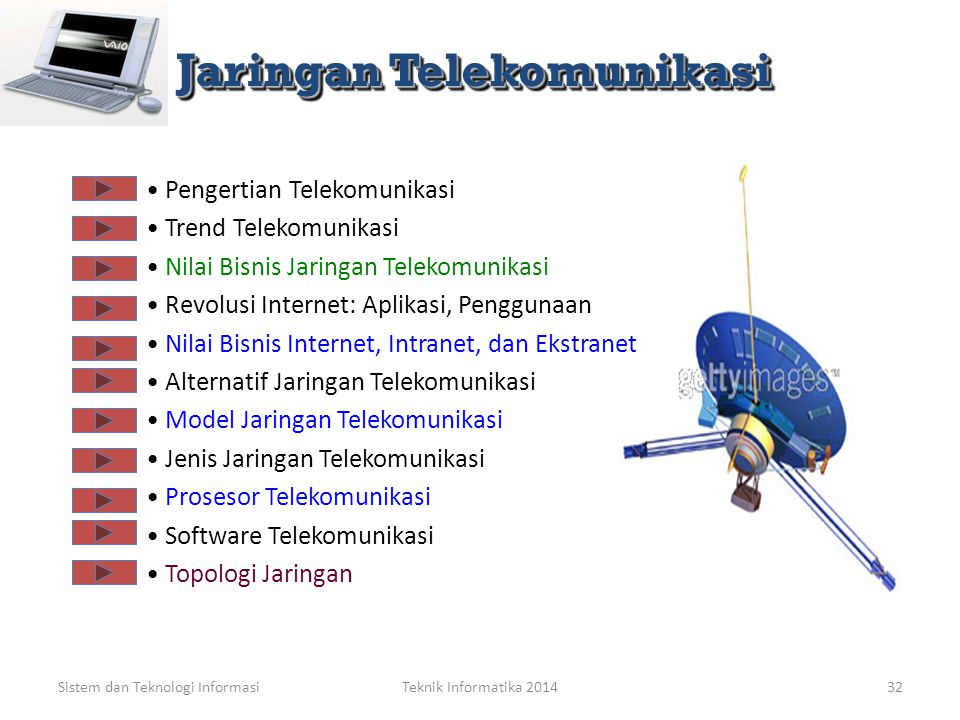 Sistem dan Teknologi Informasi Teknologi Informasi: Jaringan Telekomunikasi