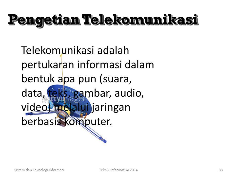 Sistem dan Teknologi InformasiTeknik Informatika 201432 Jaringan Telekomunikasi Jaringan Telekomunikasi Pengertian Telekomunikasi Trend Telekomunikasi